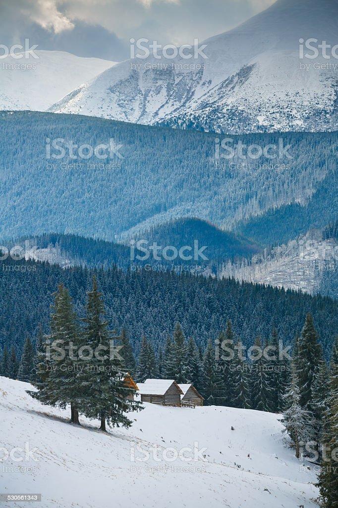 huts in mountain stock photo