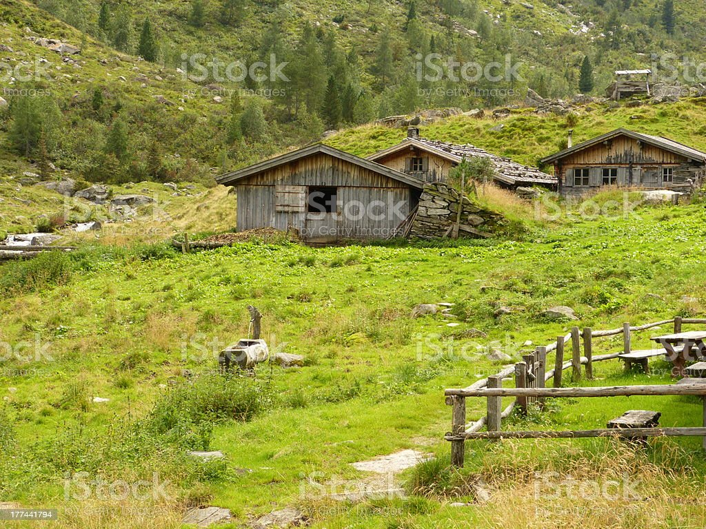 Huts in the Austrian Alps royalty-free stock photo