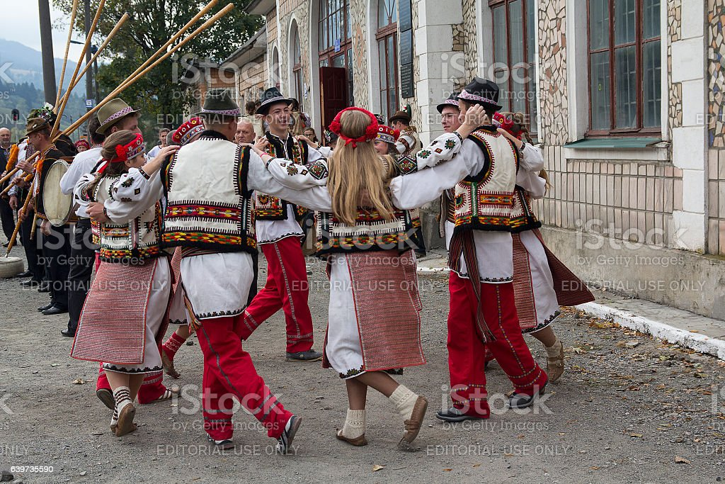Hutsuls in national costumes perform folk dance as part. Ukraine stock photo