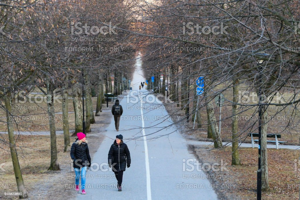SOLNA, SWEDEN Huvudsta Allé. Lonf tree-lined alley in Solna, a suburb of Stockholm stock photo
