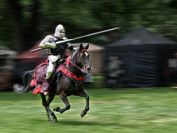 huzzah! - knight on horse stock photos and pictures