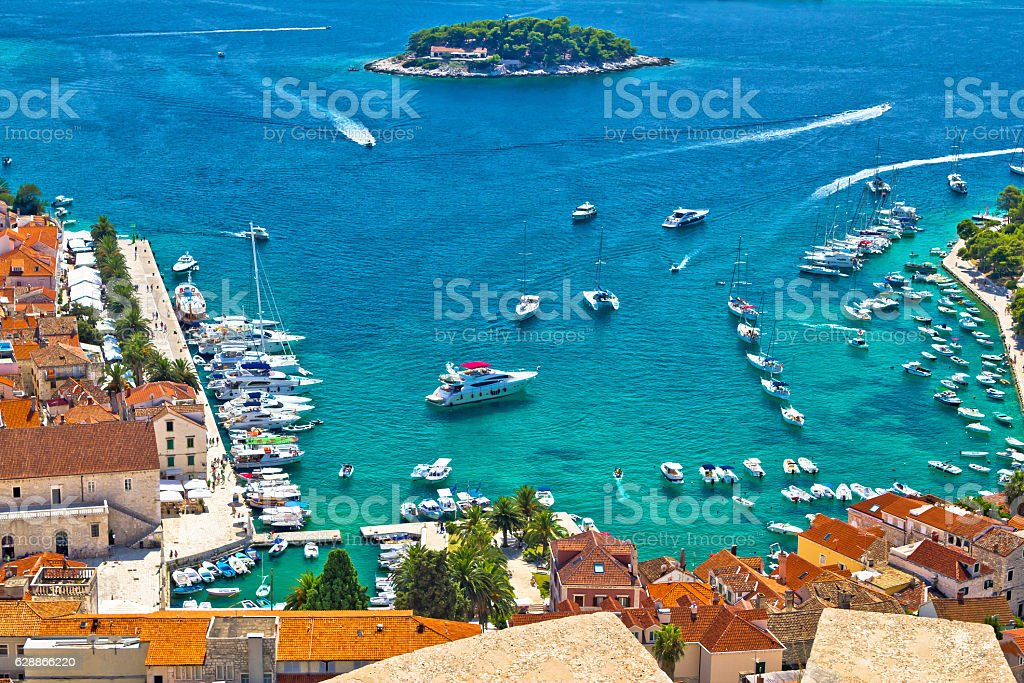 Hvar bay and yachting harbor aerial view stock photo