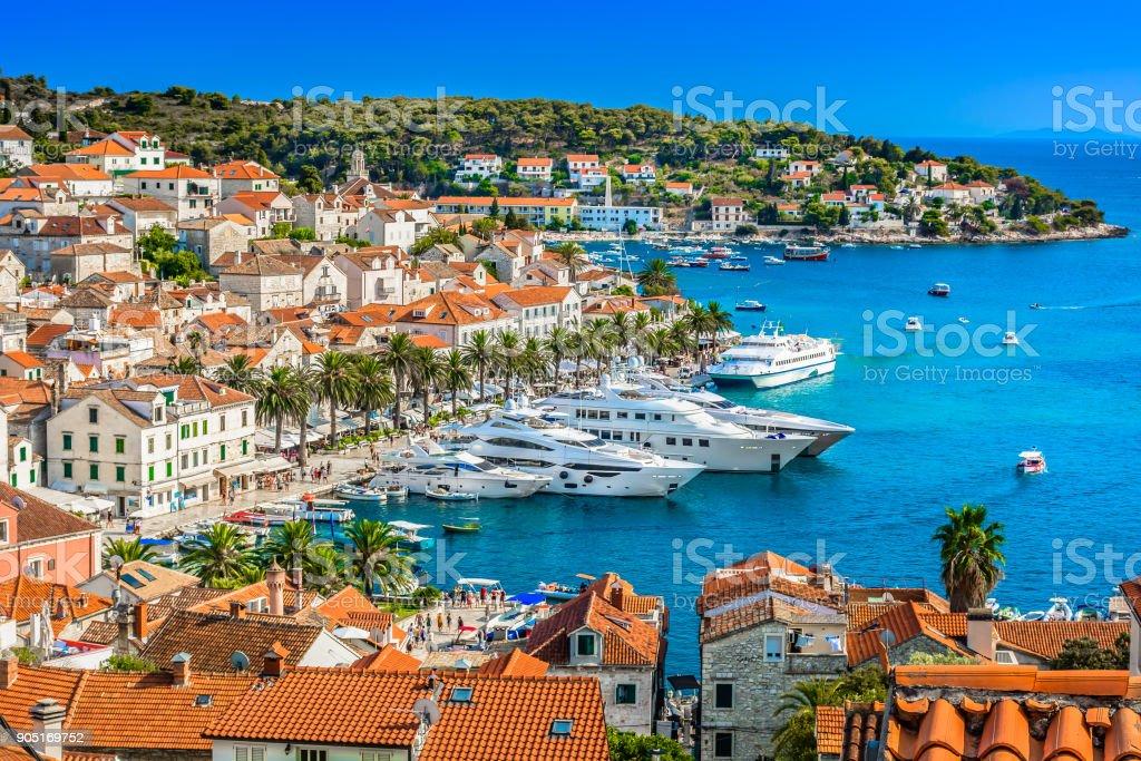 Hvar town mediterranean landscape. stock photo