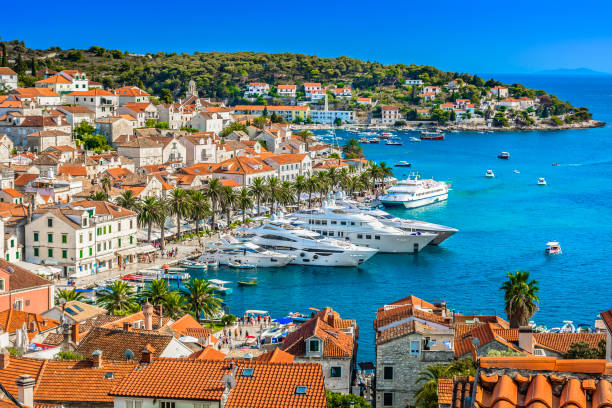Hvar town mediterranean landscape. Aerial view at Hvar town in Southern Croatia, famous luxury travel destination in Europe, Mediterranean. croatian culture stock pictures, royalty-free photos & images