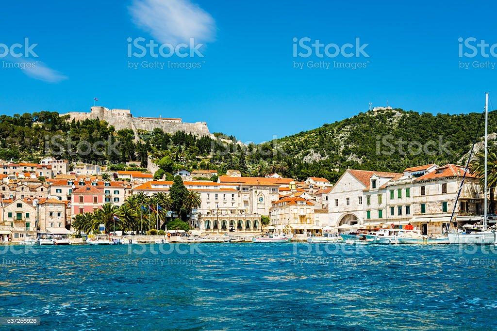 Hvar town on Hvar island, Croatia stock photo