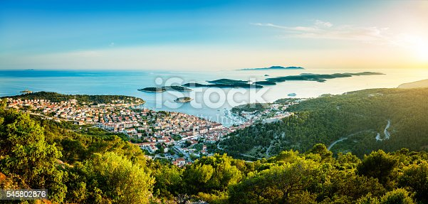 Hvar town on Hvar island with Pakleni islands, Dalmatia, Croatia at sunset. High resolution image, stitched from several Sony a7R II, photos.