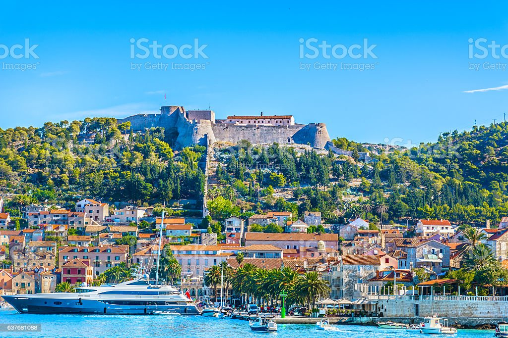 Hvar town seafront scenic view. stock photo