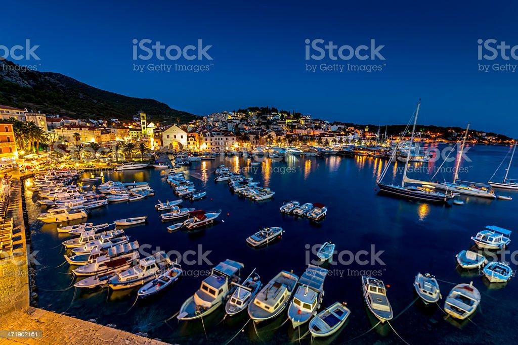 Hvar Yacht Harbor at Night, Croatia stock photo