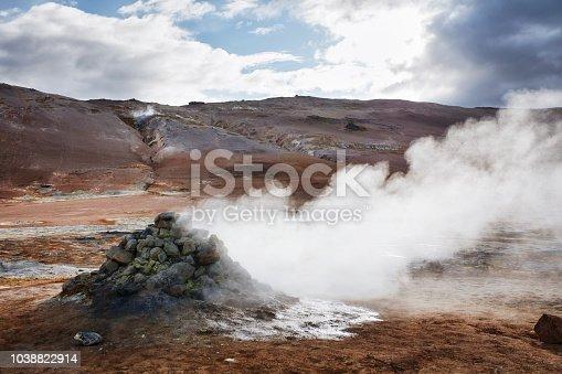 Sulfur ore rocks. Geothermal area
