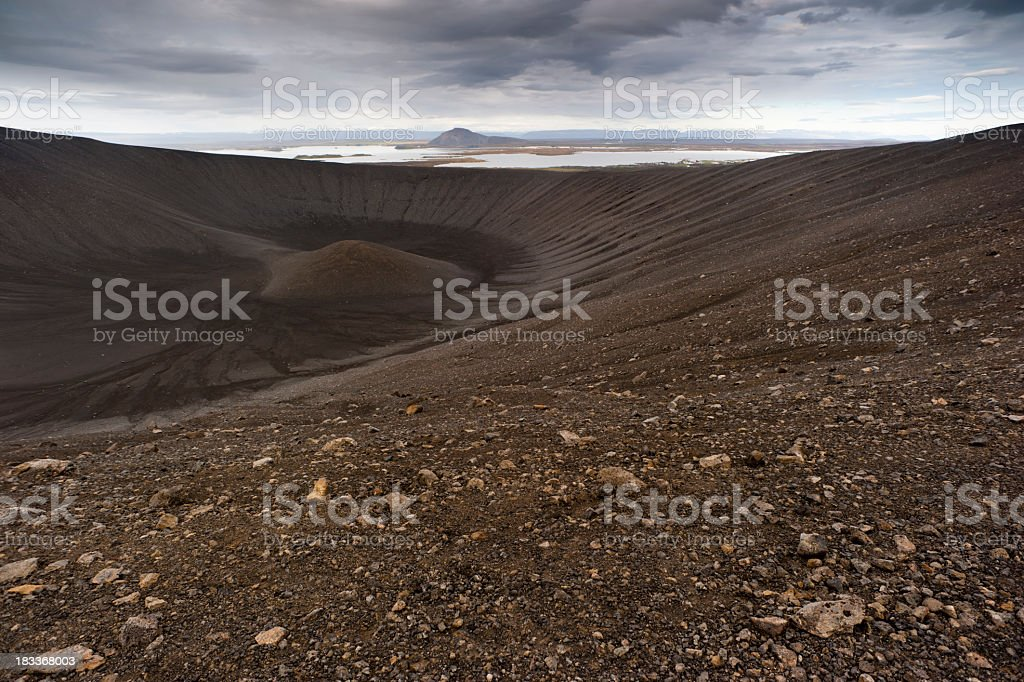 hverfell crater stock photo