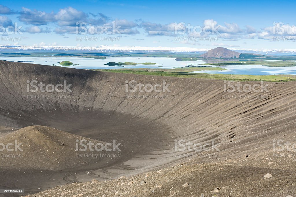 Hverfjall crater in Myvatn area, northern Iceland stock photo