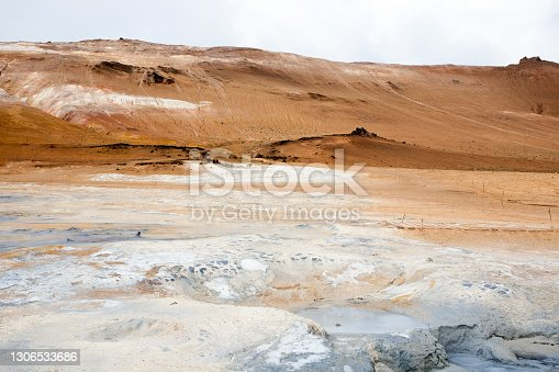 istock Hverir mud pools day view, Iceland landmark 1306533686