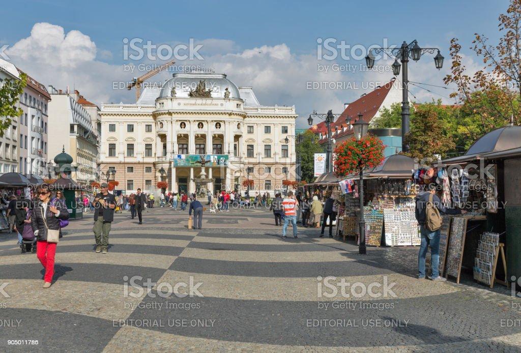 Hviezdoslavovo square in Bratislava, Slovakia. stock photo