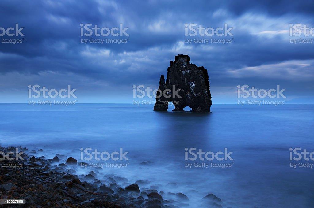 Hvitserkur rock in northwest Iceland. stock photo