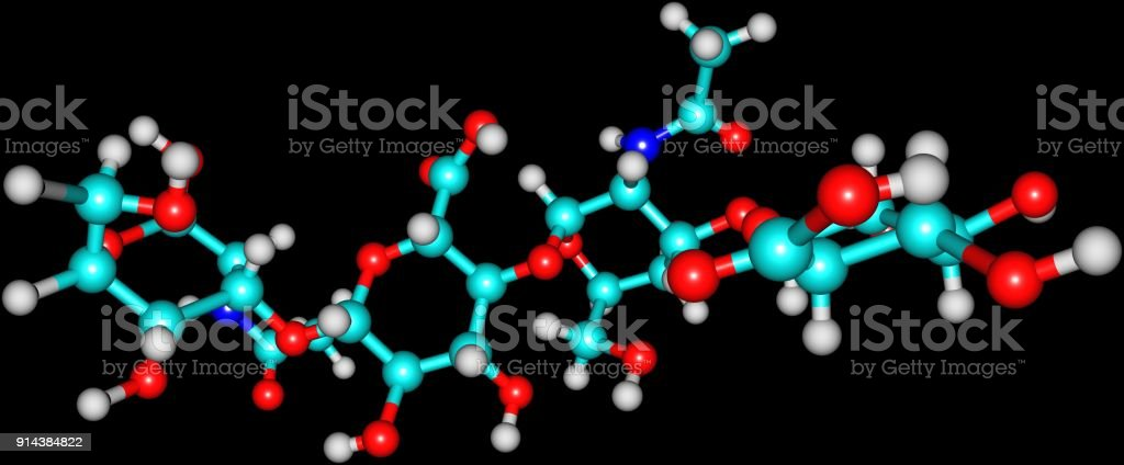 Hyaluronic acid molecular structure isolated on black stock photo