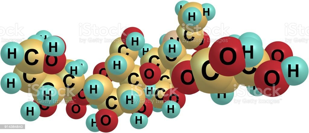 Hyaluronic acid molecular structure isolated on white stock photo