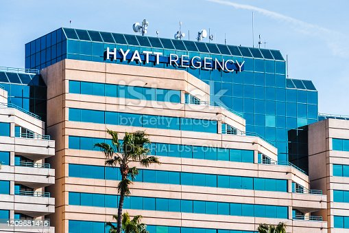 Feb 27, 2020 Santa Clara / Ca / USA - Hyatt Regency hotel in Silicon Valley; The Hyatt Regency brand is the oldest brand of Hyatt Hotels Corporation