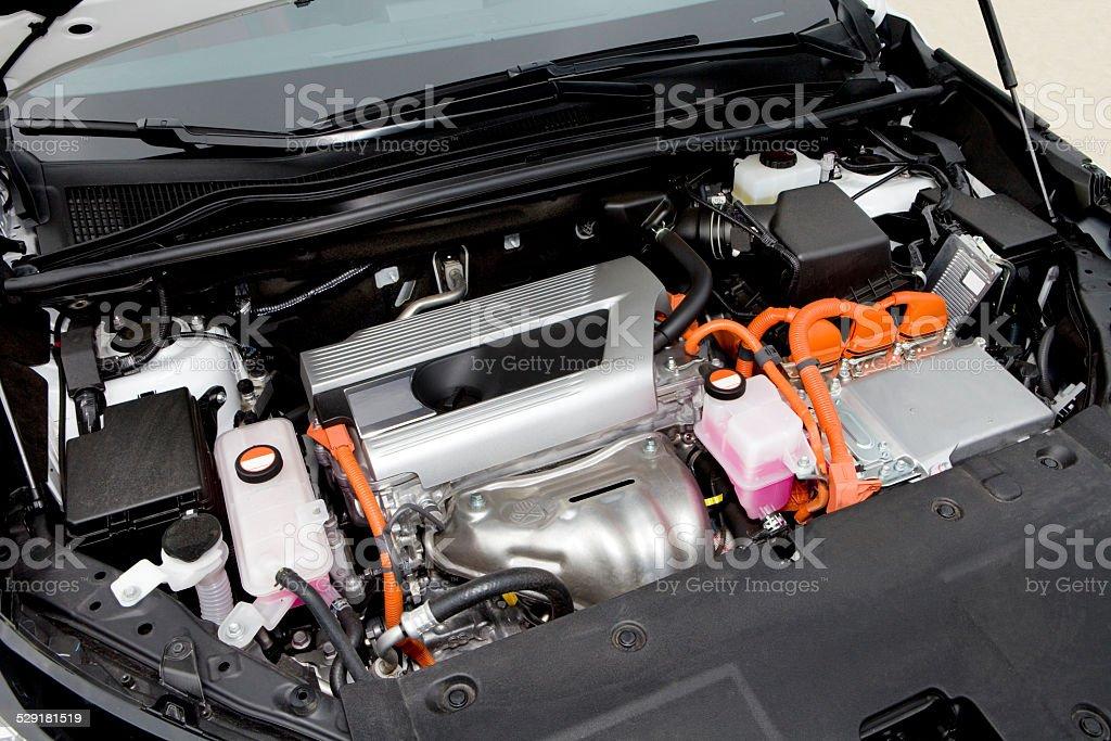 Hybrid car engine. stock photo