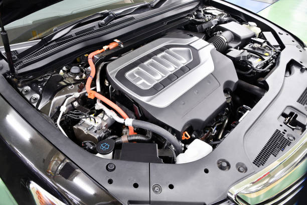 Hybrid car engine It is a hybrid car that runs with an engine and a motor hybrid car stock pictures, royalty-free photos & images