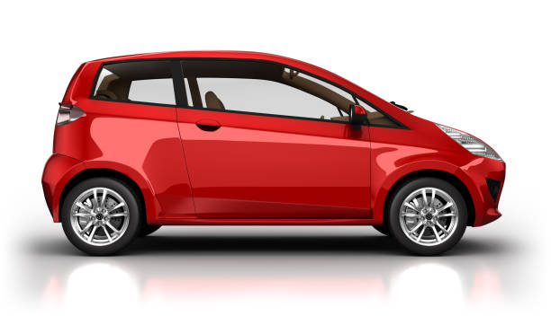 Hybrid car in studio - isolated with clipping path stock photo