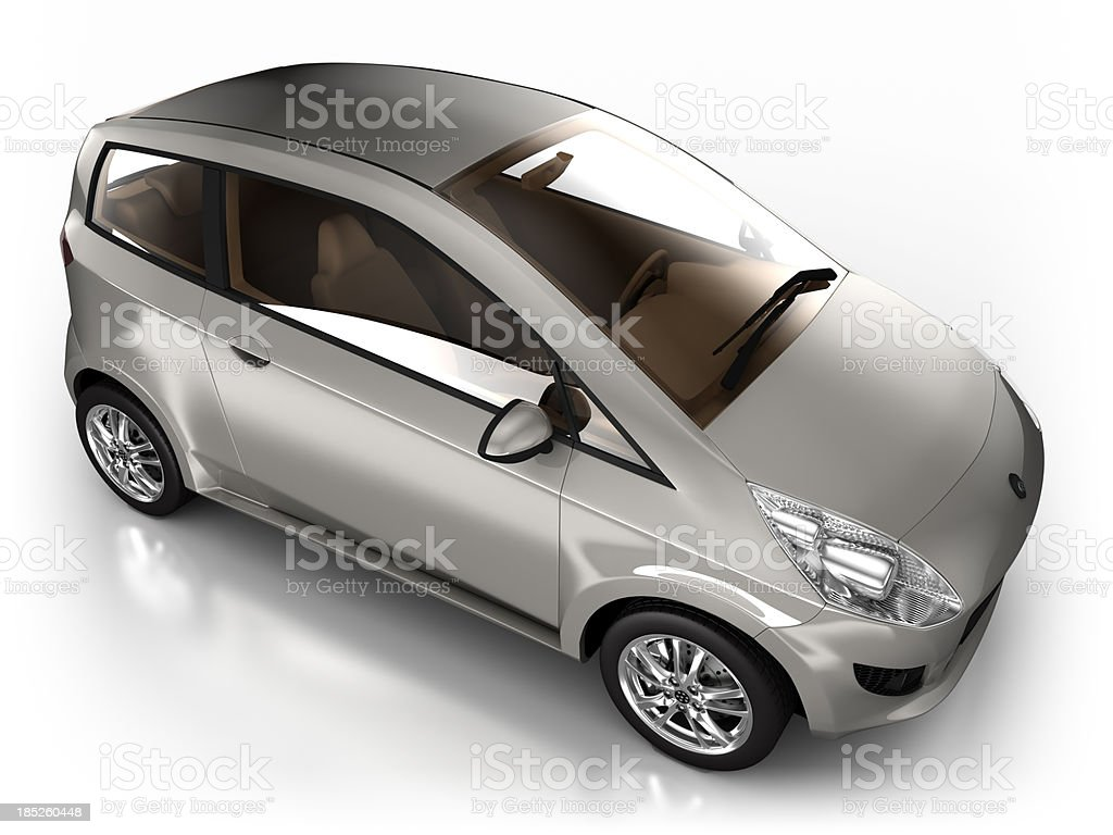 Hybrid car in studio - isolated with clipping path royalty-free stock photo