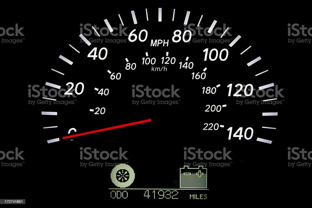 Hybrid car's speedometer royalty-free stock photo