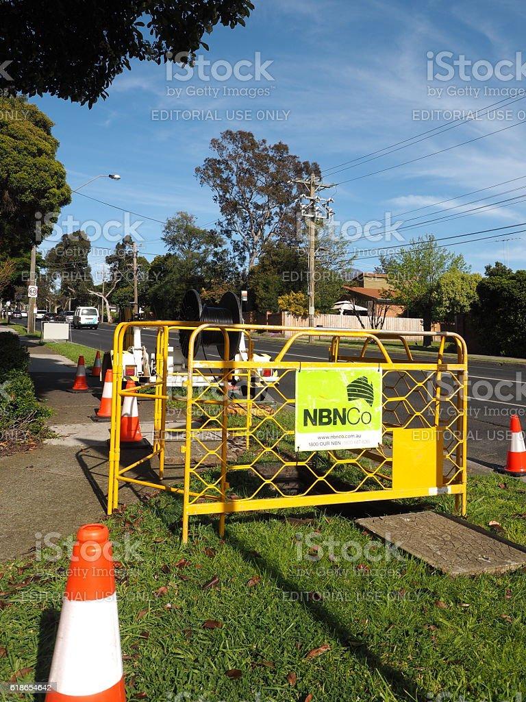 NBN Hybrid Coaxial Fiber cable installation stock photo