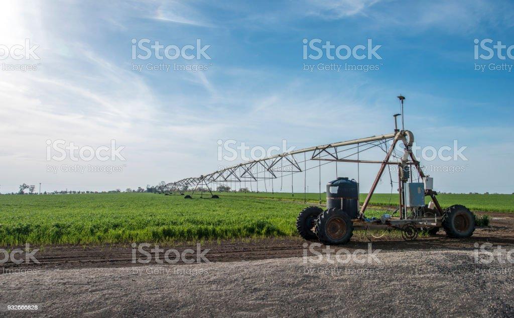 Hybrid mobile irrigation system stock photo
