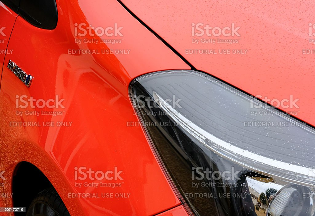 Hybrid motor vehicle bodywork and headlight stock photo