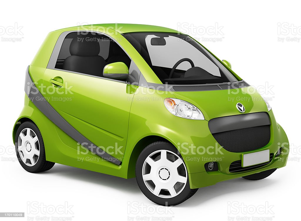 Hybrid smart car very small and green stock photo