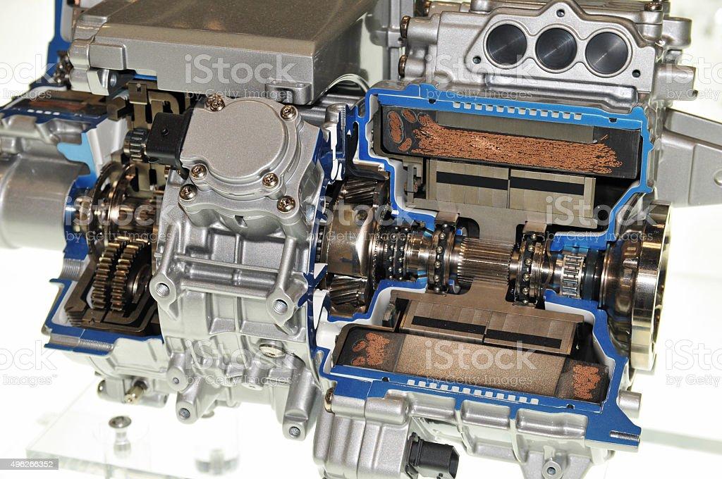 Hybrid vehicles of transmission stock photo