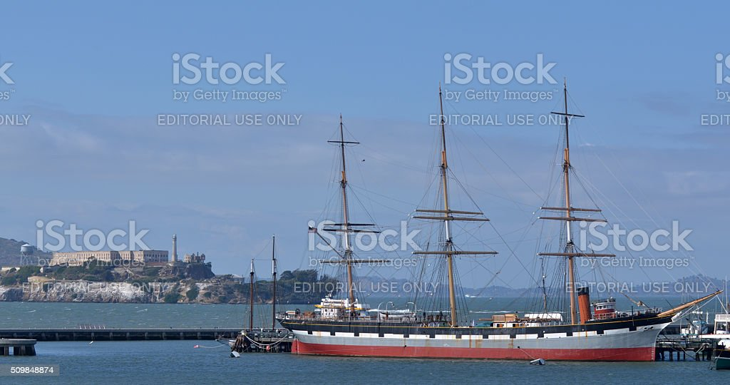 Hyde Street Pier in Fisherman's Wharf in San Francisco, CA stock photo