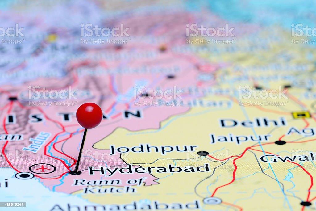 Hyderabad Pinned On A Map Of Asia Stock Photo - Download Image Now on islamabad map, courtallam map, chhatrapati shivaji international airport map, lahore map, saddar map, south asia map, peshawar map, india map, trivandrum map, duqm map, karachi map, chennai map, assam map, colombo map, anantapur district map, ahmedabad gujarat map, myanmar map, dhaka map, magarpatta map, andhra pradesh map,