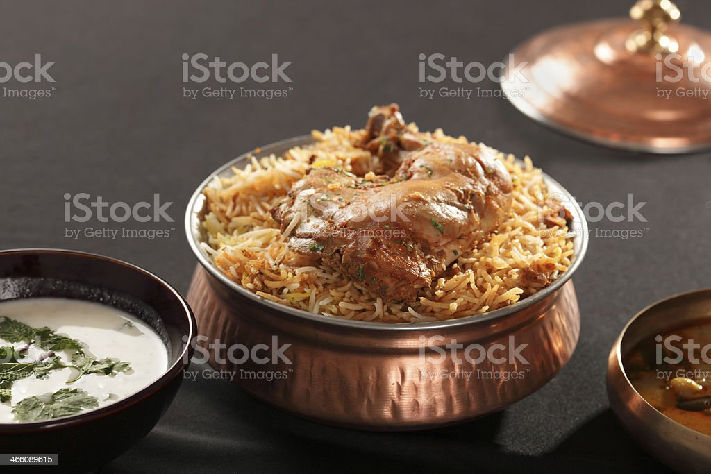 Hyderabadi Biryani - A  Popular Chicken or Mutton rice preparation stock photo