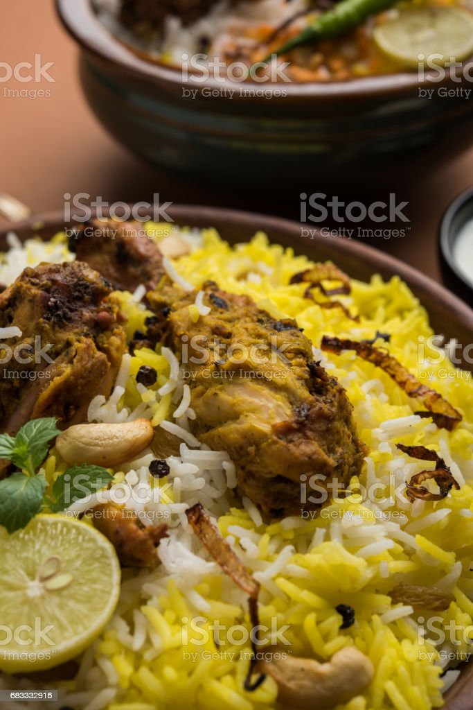 Hyderabadi chicken biryani or dum biryani, selective focus royalty-free stock photo