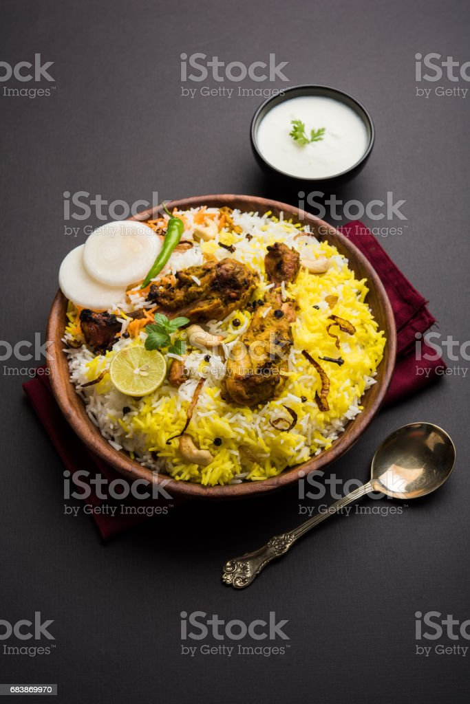 Hyderabadi chicken biryani or dum biryani, selective focus stock photo