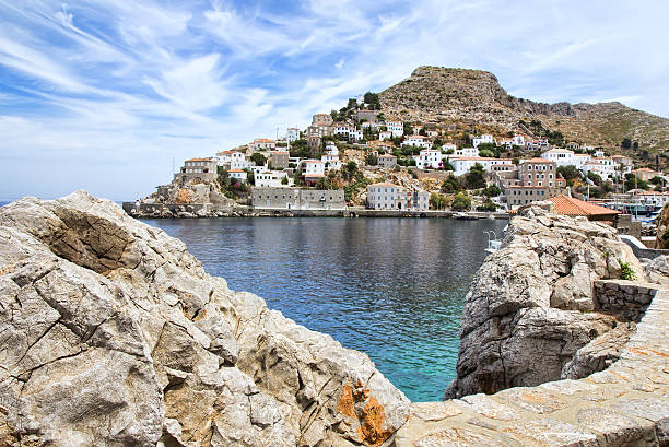 Hydra island in Greece View of Hydra or Ydra, a picturesque Greek Saronic island in the Aegean Sea. rymdraket stock pictures, royalty-free photos & images