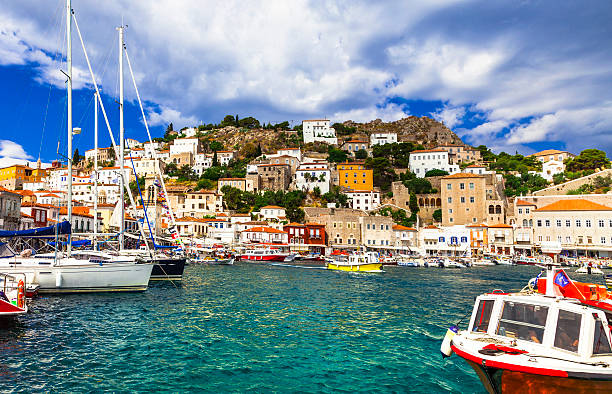 Hydra Island,Greece. View of Port Of Hydra,Saronic,Greece. rymdraket stock pictures, royalty-free photos & images