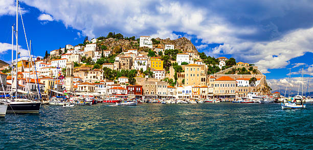 Hydra Island,Greece. Pictorial port of Hydra Island,Saronics,Greece. rymdraket stock pictures, royalty-free photos & images