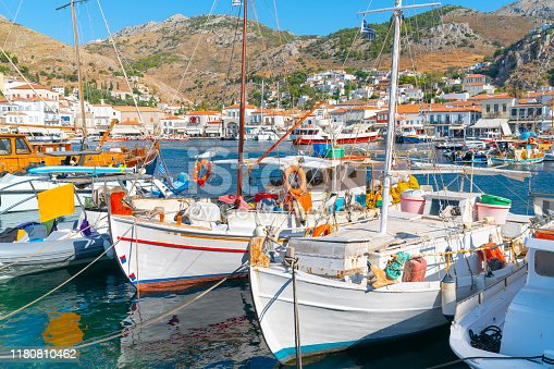 Hydra waterfront with its quaint fishing boats