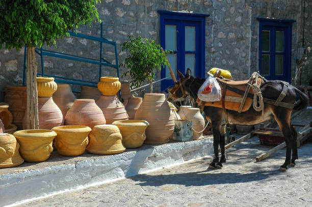 Hydra,Greece,donkey, vessels Hydra,Greece,donkey, vessels rymdraket stock pictures, royalty-free photos & images