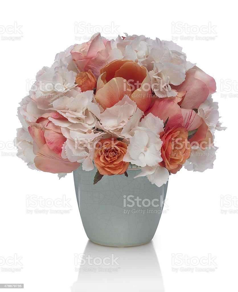 Hydrangea and Rose Bouquet on a white background royalty-free stock photo