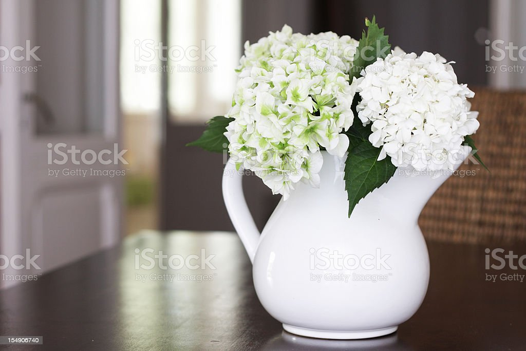 Hydrangea bouquet in white jar in dinning room royalty-free stock photo