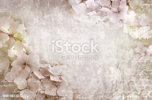 istock Hydrangea floral postcard. Can be used as greeting card, invitation for wedding, birthday and other holiday happening. 958156116