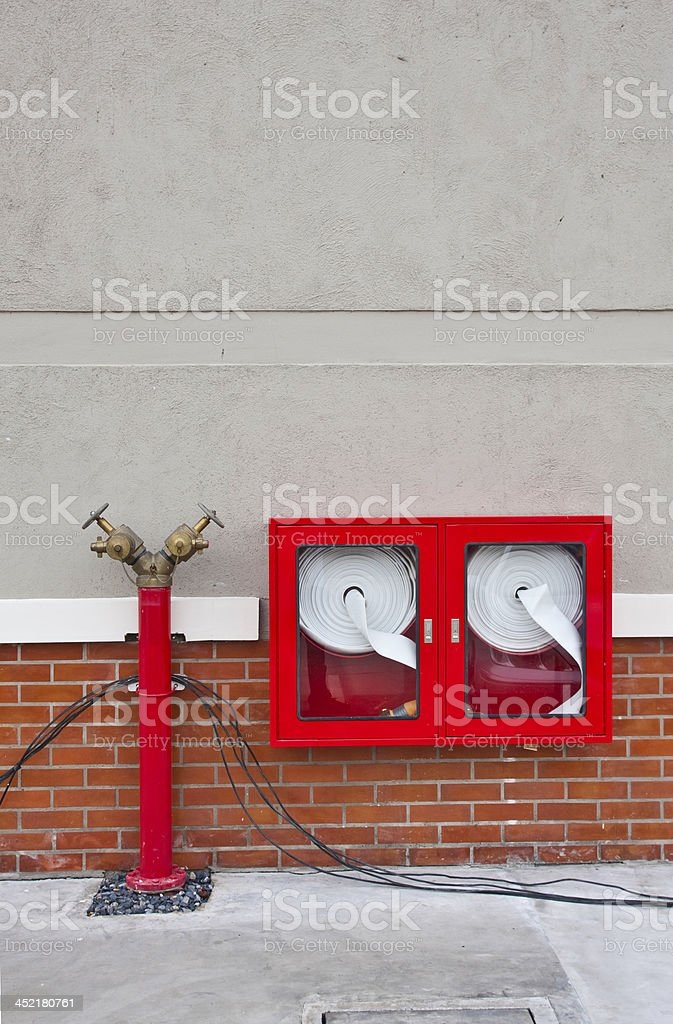 Hydrant with water hoses and fire extinguisher equipment. royalty-free stock photo