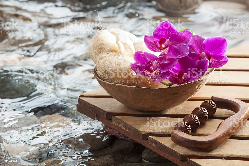hydrating peeling and massage for relaxation stock photo