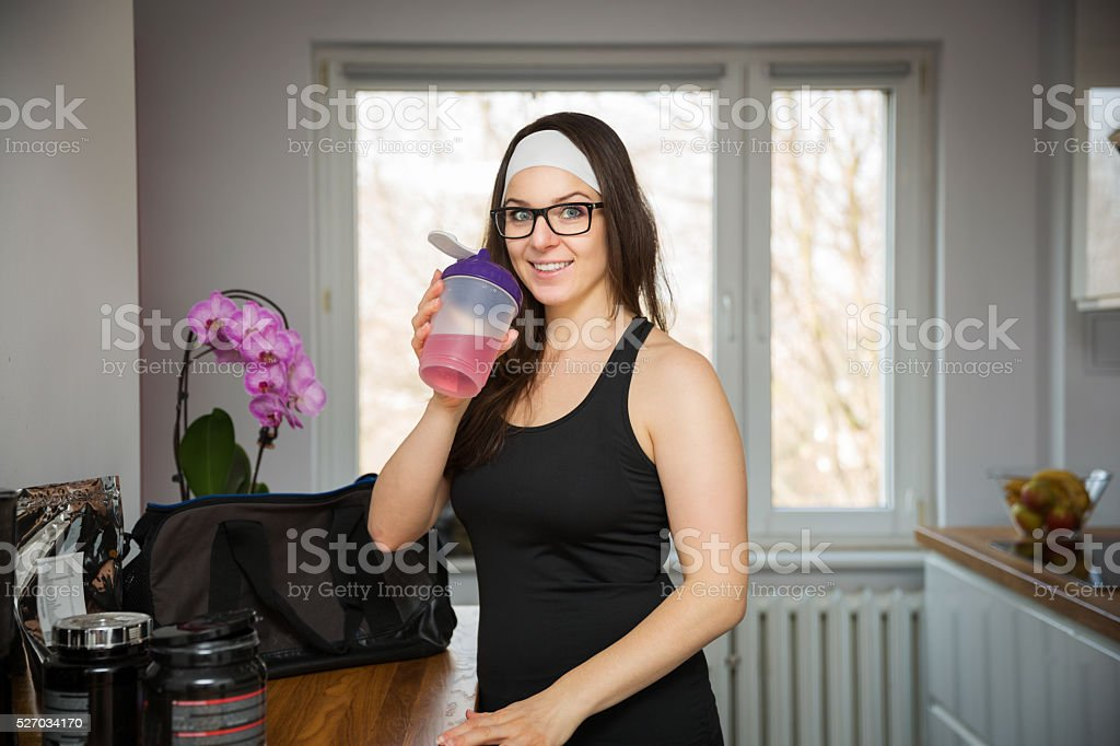Hydrating the organism is important thing in sport stock photo
