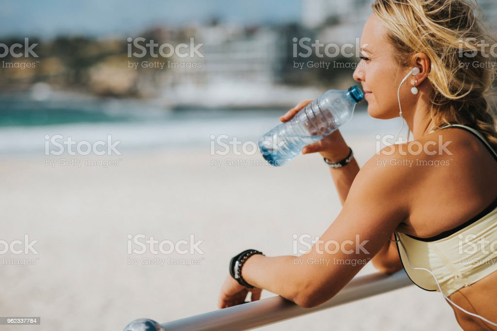 Hydration after training stock photo