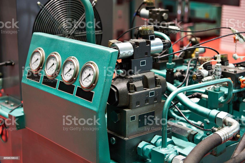Hydraulic aggregates for drive of working bodies presses stock photo