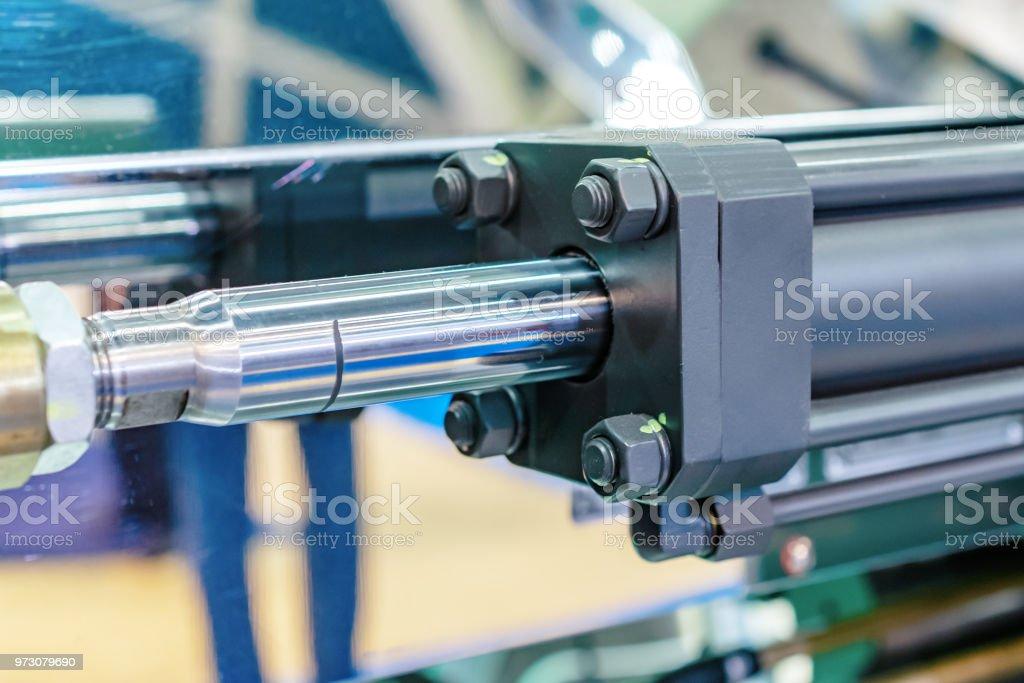 Hydraulic cylinder close-up stock photo